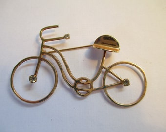 Vintage Jewelry gold toned metal bicycle Brooch no markings