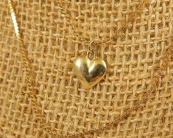 Vintage Double Strand Heart Necklace