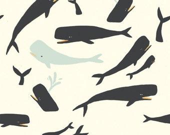 Sale | Birch Saltwater organic cotton fabric - Whales Cream - 1/2 YD