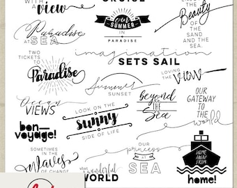 Printable and Digital Word Art Overlay Set - Instant Download - Our Cruise