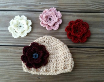 Crochet baby hat, baby flower hat, 0-12 months hat, crochet hat with interchangeable flower