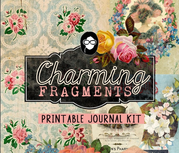 Journaling Kit - Charming Fragments - 16 Journaling Pages - art journal kit, junk journal cover, junk paper pack, digital paper pack