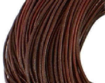 3mm Round Leather Cord, Chocolate, 4 Feet