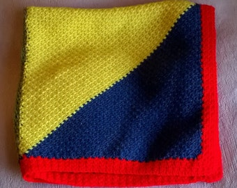 Crochet Baby Blanket - Fun Colourful Patchwork Triangles