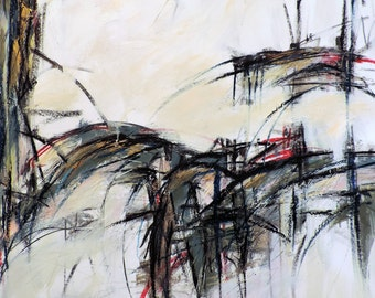 1-8-17b  (abstract expressionist painting, black, green, blue, red, pastel, white, ivory, cream)