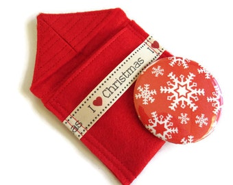Bright Red Felt Pouch With Small Pocket Mirror- Fabric Covered Handbag Mirror - Compact Mirror with Pouch