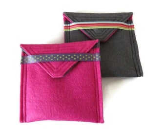 2 x Felt Tea Bag Holders - Travel Case for Tea Bags - Felt Tea Bag Pouch - Handbag Tea Bag Pouch - Teabag Wallets