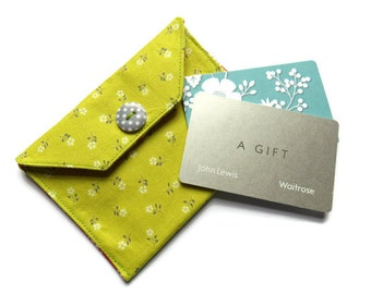 Fabric Gift Card Wallet - Fabric Case for Cards - Business Card Wallet - Gift Wallet for Jewellery - Gift Card Case - Card Wallet