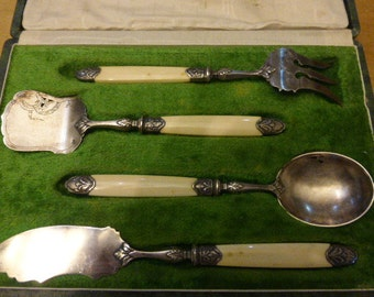 French Silver Hors D'Oeuvres Service, Original Boxed  set.