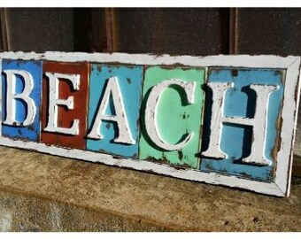 "Weathered ""BEACH"" Sign - rustic beach/coastal decor"