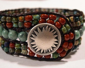 Beaded Leather Cuff Bracelet - 891