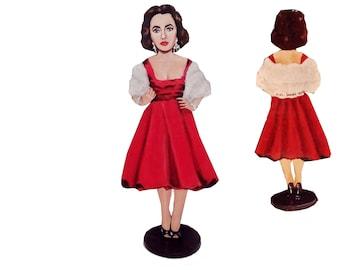 Elizabeth Taylor Hand Painted 2D Art Figurine