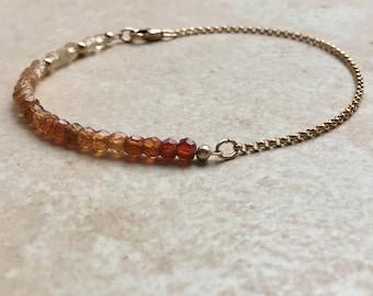 Garnet Bracelet Ombre Hessonite Garnet Gemstone Beaded Bracelet Dainty 14kt Gold Bracelet Gift for Her Garnet Jewelry