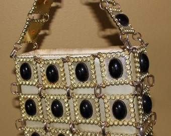 Chic Vintage 1960's 1970's Gold Chain Metallic Black Beaded Purse