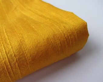 Yellow India raw silk shantung silk fabric nr 801 fat quarter (1/4 yard)