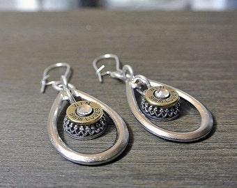 HOLIDAY SALE Raindrop Bullet Earrings - 9mm Bullet Jewelry -  TearDrop Jewelry