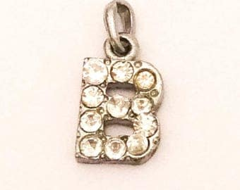 SALE *** Initial B Pendant, Charm, Rhinestone, Silver Tone, 1960s Vintage Jewelry *** SALE
