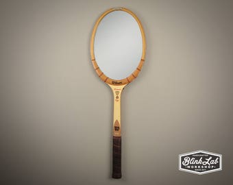 Tennis Racket Mirror, Wall Hanging, Looking Glass, Racquet, Game, Message Board, Home Decor, Vintage, Retro, Upcycled, Repurposed