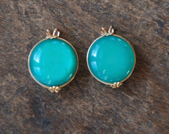Vintage Castlecraft Hillcraft Clip On Earrings Teal Moonglow Lucite Gold Filled Shoe Clips 1960's // Vintage Costume Jewelry