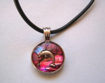 90s Dolphin Choker, Pink Enamel Pendant on Black band with Adjustable length, Club Kid Necklace