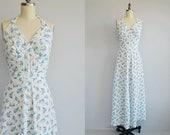 Vintage 1940s Nightgown / 40s Blue White Floral Rose Print Seersucker Maxi Halter Sundress Dress