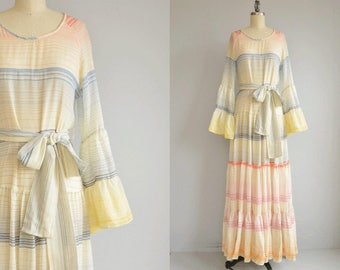 Vintage 1970s Maxi Dress / 70s Giorgio Sant Angelo Long Sheer Rainbow Stripe Boho Bell Sleeve Festival Gypsy Dress