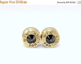 30% OFF SALE Bullet Casing Earrings. Black Onyx . Swarovski Crystal  9mm Luger