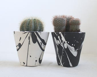Torrent Planter Small Black and White Planter Made to Order