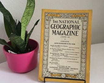 Vintage Magazine, August 1927, National Geographic, free shipping US & Canada
