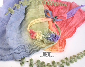 Rainbow Cheesecloth Tieback -  Newborn Photography Props