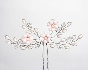 672_Light pink pearl hair pin, Wedding hair pins, Crystal hair accessories, Silver hair pins, Bridal hair pins, Romantic hair accessories