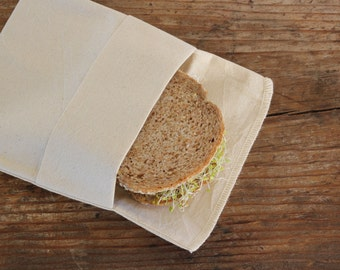 Organic Reusable Medium Sandwich Bag  -- Organic Unbleached Muslin Double Layer, Choose Your Quantity
