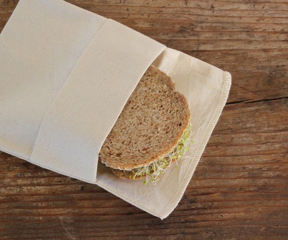 Organic Reusable Medium Sandwich Bag Set of 2 -- Organic Unbleached Muslin Double Layer  Eco Friendly