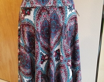 Women's large and medium and small long sweater knit paisley skirts