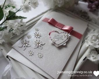 Wedding Gift or Money Wallet Vintage Ivory & Dusky Pink