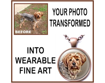 Custom Portrait in a Pendant, Your Dog, Cat, Any Pet, Special Digital Painting Treatment, Your Choice of Finish