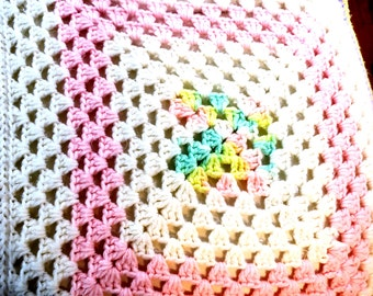"""Hand Crocheted Colorful Afghan 48"""" x 96"""""""