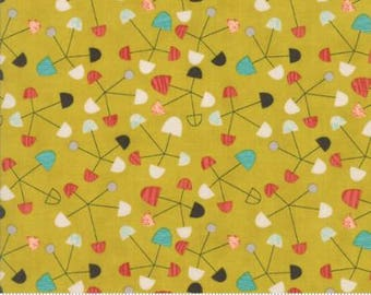Ninja Cookies by Jenn Ski for Moda - Geometric Pinwheel -  Chartreuse Yellow - 1/2 Yard Cotton Quilt Fabric