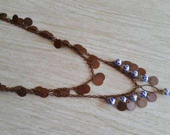 Copper and cobalt Flowers Necklace