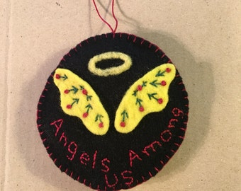 Angel Wings And Halo On Black Felted Wool Fabric With The Words Angels Among Us