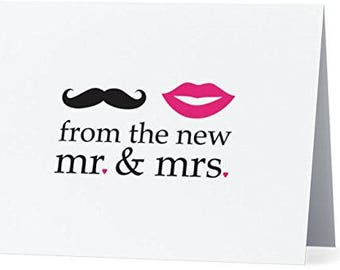 The New Mr and Mrs Wedding Thank You Note Cards 25 Count with Envelopes