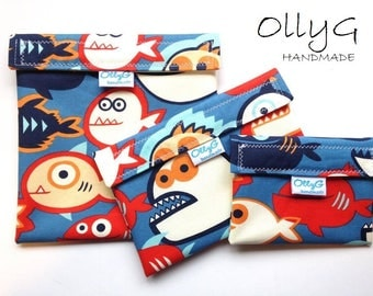 FOOD SAFE - Re-Useable Sandwich snack bags - Fish