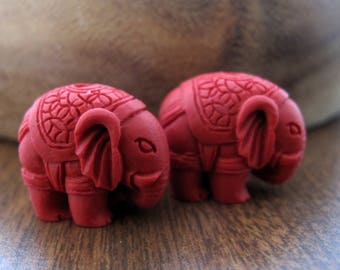 Pair of  21mm x 18mm elephant beads, red cinnabar, pendant, spacer, Rich red  ,jewelry making supplies S7694