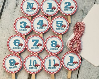 RED TRUCK theme 1st Birthday Photo Clips Banner Newborn - 12 months - Party Packs Available