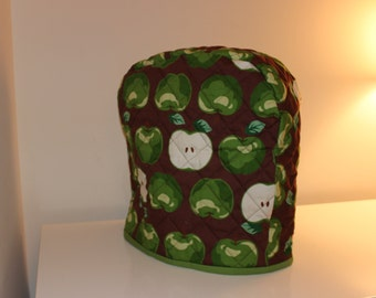 5 quart Lift-Up Bowl - Quilted Mixer Cover for Kitchen-Aid - Brown Green Apple Fabric - Christmas Birthday