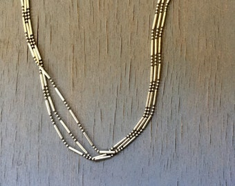 Sterling Chain Necklace Italian Silver Multi Chain Three Strand Vintage Fine Jewelry Gift for Her Unisex