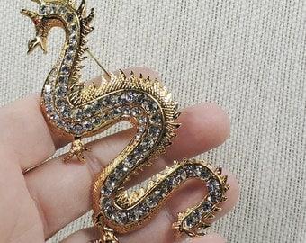 Vintage Rhinestone Dragon Brooch