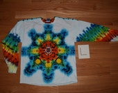 Tie Dye T-Shirt ~ Rainbow Mandala With White Background ~ C_0139  in Long Sleeve Adult Large