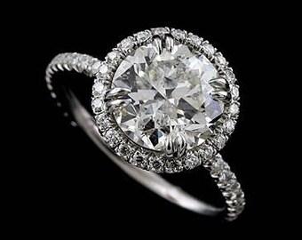Customization: Layaway Plan Diamond Platinum Halo Engagement Ring Setting