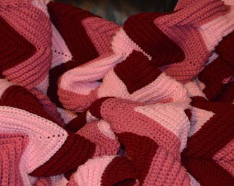 Large Crocheted Ripple Afghan in Rose Tones